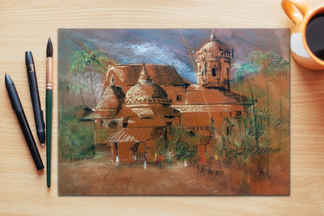 temple sketch in dry pastels